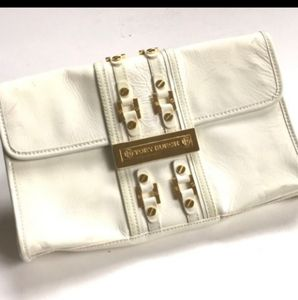 AUTH TORY BURCH PATENT LEATHER LOGO CLUTCH HANDBAG